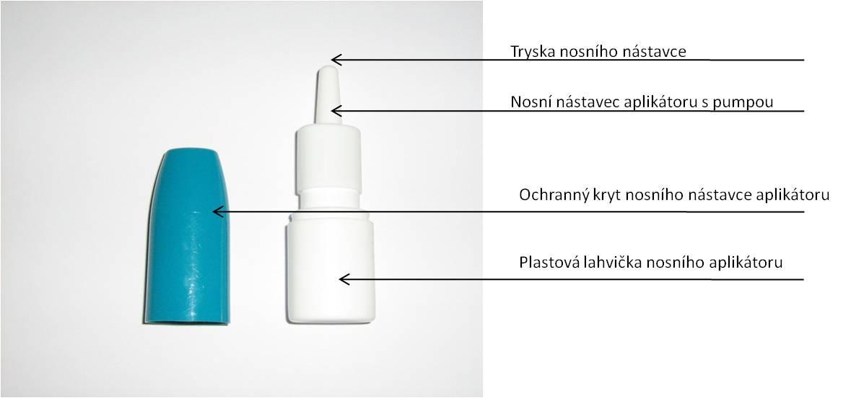 Obr. 4. - Nosní aplikátor pro nosní sprej – plastová lahvička s nosním nástavcem s pumpou